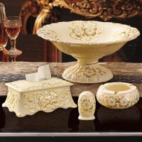 奢华欧式陶瓷水果盘三件套创意家居茶几装饰品客厅大果盆摆件套装