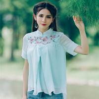 2018夏新款民族风女上衣文艺复古立领刺绣短袖衬衣A字雪纺衫显瘦