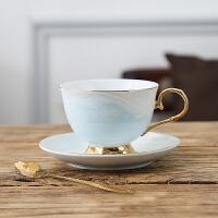 陶瓷咖啡杯欧式小简约拉花咖啡杯碟花茶杯套装英式下午茶茶具 {210ML}黄金蓝 杯+碟+勺
