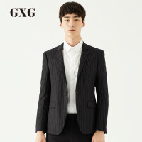 【GXG&大牌日 2.5折到手价:299.8】[品格]GXG西装男装 秋冬季男士男士商务宴会黑底白条单西外套