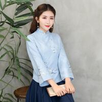 中式唐装上衣秋装长袖改良茶人服冬装 民国风旗袍女装春装衬衫女