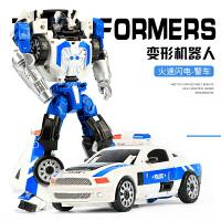 儿童男孩合金变形玩具金刚合体正版模型汽车机器人飞机摩托警察车M 均码