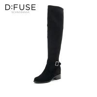 迪芙斯(D:FUSE)女靴 绒面羊皮革尖头休闲长靴 DF74117018