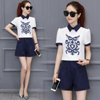 短裤套装女夏装新款2018韩版时尚显瘦小香风时髦洋气阔腿裤两件套