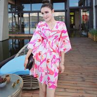 泰国潮牌2018减龄款名媛性感仙女荷叶袖高跟鞋印花V领系带连衣裙