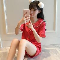 家居服2018春夏新款甜美时尚气质日系软妹可爱短袖上衣短裤套装女
