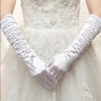 新娘婚纱手套蕾丝红色白色结婚手套婚庆婚礼手套短款长款缎面手套 白色 手套长款