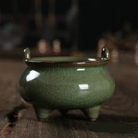 青瓷香炉供佛香道佛具茶道陶瓷香插小三足线香炉供奉居室