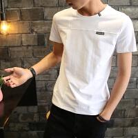 慈姑男士短袖2018新款韩版潮流T恤夏季学生宽松衣服修身帅气个性男装 白色 01