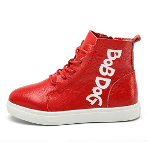 巴布豆童鞋2016新款时尚韩版女童鞋高帮休闲式男童皮鞋