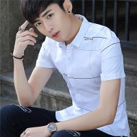 夏季新款韩版青少年休闲潮流百搭白色印花修身青少年学生衬衣