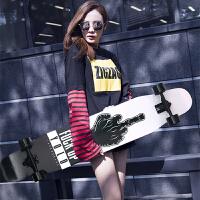 滑板刷街韩国双翘舞板初学者长板男女生四轮滑板车公路