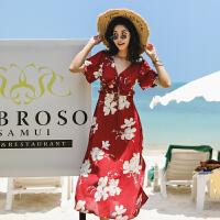 泰国普吉岛沙滩裙女大码显瘦波西米亚长裙海南三亚旅游度假连衣裙 酒红色 S 适合105斤以内