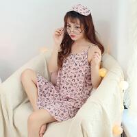 女生睡裙夏季韩版清新甜美可爱学生裙子睡衣女夏吊带纯棉公主 豆沙 送眼罩