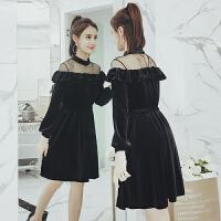2018春装新款大码女装胖mm遮肚子显瘦网纱拼接长袖一字肩连衣裙 黑色