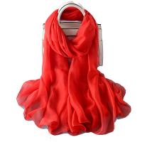 纯色 巾 围巾中国红大红色长款纱巾女夏季防晒多功能百搭 红色 丝巾