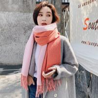 羊毛围巾女士秋冬季节韩版百搭双面羊羔绒披肩纯色围巾加厚保暖