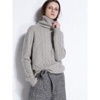 抢!【反季清】麻花羊绒衫女装高领毛衣加厚套头宽松针织打底羊毛