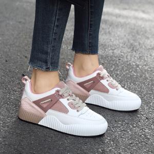 ZHR2019春季新款韩版运动鞋内增高小白鞋平底休闲鞋真皮单鞋女鞋