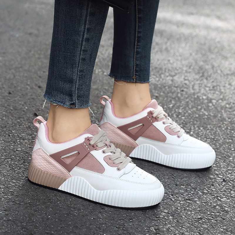 ZHR2018秋季新款韩版运动鞋内增高小白鞋平底休闲鞋真皮单鞋女鞋