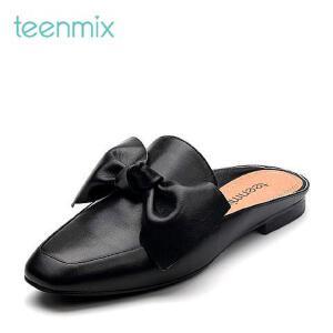 Teenmix/天美意2017春牛皮甜美蝴蝶结复古慵懒穆勒鞋女凉鞋16515AH7