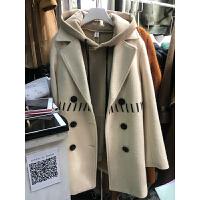 冬季毛呢外套女韩版西装领交叉带子中长款呢子衣