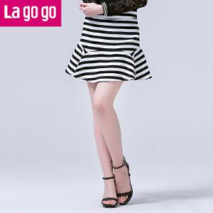 lagogo拉谷谷正品2016年春季新款黑白条纹舒适女A型半身裙短裙