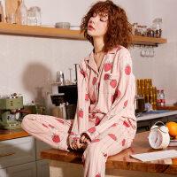 睡衣女春秋季纯棉长袖韩版夏月子女士宽松家居服全棉产后两件套装