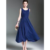 时尚连衣裙新款文艺复古大码女装中长款棉麻宽松连衣裙背心裙