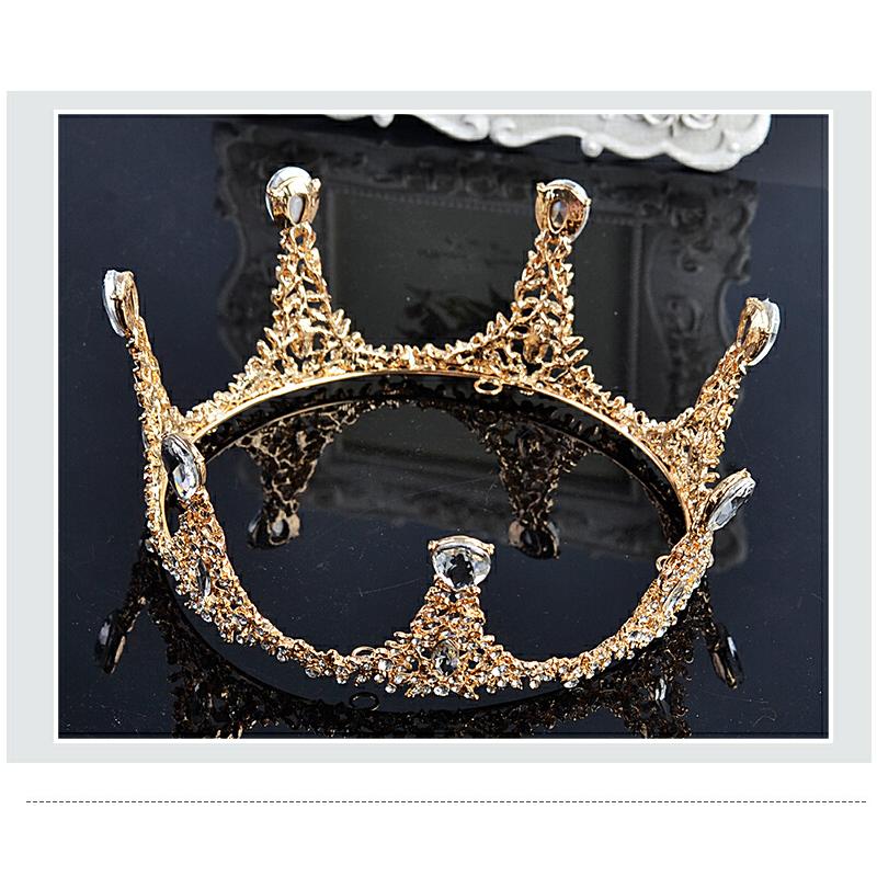 婚纱礼服影楼配饰结婚巴洛克头饰品圆形皇冠大气金色王冠