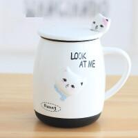 可爱猫咪水杯子陶瓷卡通个性创意情侣办公室牛奶咖啡马克杯带盖勺