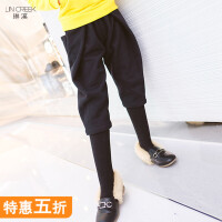 儿童加绒哈伦休闲裤子冬装新款加厚保暖韩版八分小脚裤女童大裆裤