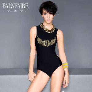 范德安三角连体泳衣女性感露背遮肚黑色显瘦专业运动泳装