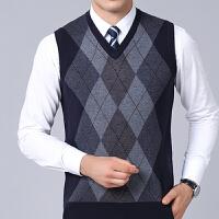 中老年V领羊毛衫中年男士无袖毛衣马甲男菱形格保暖毛衣背心坎肩