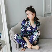 2018新款春季性感睡衣女冰丝两件套开衫可外穿长袖长裤丝绸印花家居服套装
