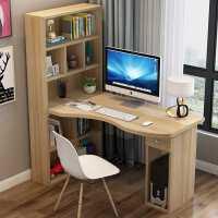 书桌简约家用学生卧室转角台式电脑桌书架书柜一体组合儿童写字桌