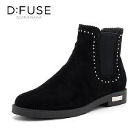 迪芙斯(D:FUSE)冬专柜同款牛皮革铆钉松紧休闲女短靴 DF84116283