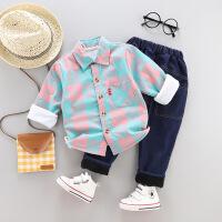 宝宝秋冬装儿童衬衫长袖男童帅气套装婴儿童装0-1-2-3岁半4韩版潮