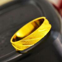 磨砂情侣对戒不褪色男女镀金戒指欧币仿黄金指环越南沙金戒指礼物