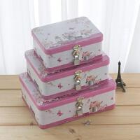 可以上锁的箱子铁盒长方形带锁的收纳箱子半岛铁皮零食储物 浅灰色 粉红的回忆三件套
