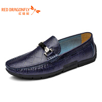 红蜻蜓男鞋夏季时尚鳄鱼纹驾车鞋豆豆鞋牛皮男士套脚皮鞋
