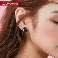 气质黑玫瑰小耳钉耳环无耳洞耳夹耳坠简约少女心短发耳饰