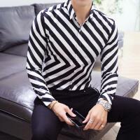男斜条纹印花男长袖衬衫时尚都市青年寸衣KTV酒吧衬衣