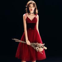 新娘敬酒服中长款2018新款秋冬季性感显瘦结婚宴会晚礼服裙女红色 酒红色中长款