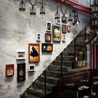复古美式照片墙个性相框创意挂墙组合饭店餐厅工业风背景墙上装饰 0301 黑白胡/15框