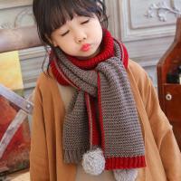 秋冬季新款儿童双色兔毛长巾小孩保暖宝宝围巾男女童围脖 潮