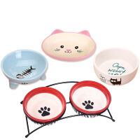 宠物猫碗狗碗狗盆猫食盆猫咪狗狗用品陶瓷双碗饭盆