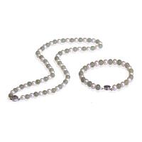 梦克拉 925银和田玉珍珠套装项链手链 韵味 和田玉碧玉珍珠链 玉石银套链 女款