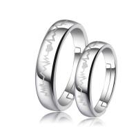 925银戒指女情侣戒指韩版简约创意银饰品男女心跳对戒生日礼物 925银