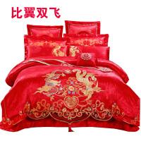 欧式新婚结婚床上用品四件套大红刺绣全棉纯棉婚庆床品六十多件套 1.8m(6英尺)床 十件套【送5重大礼】